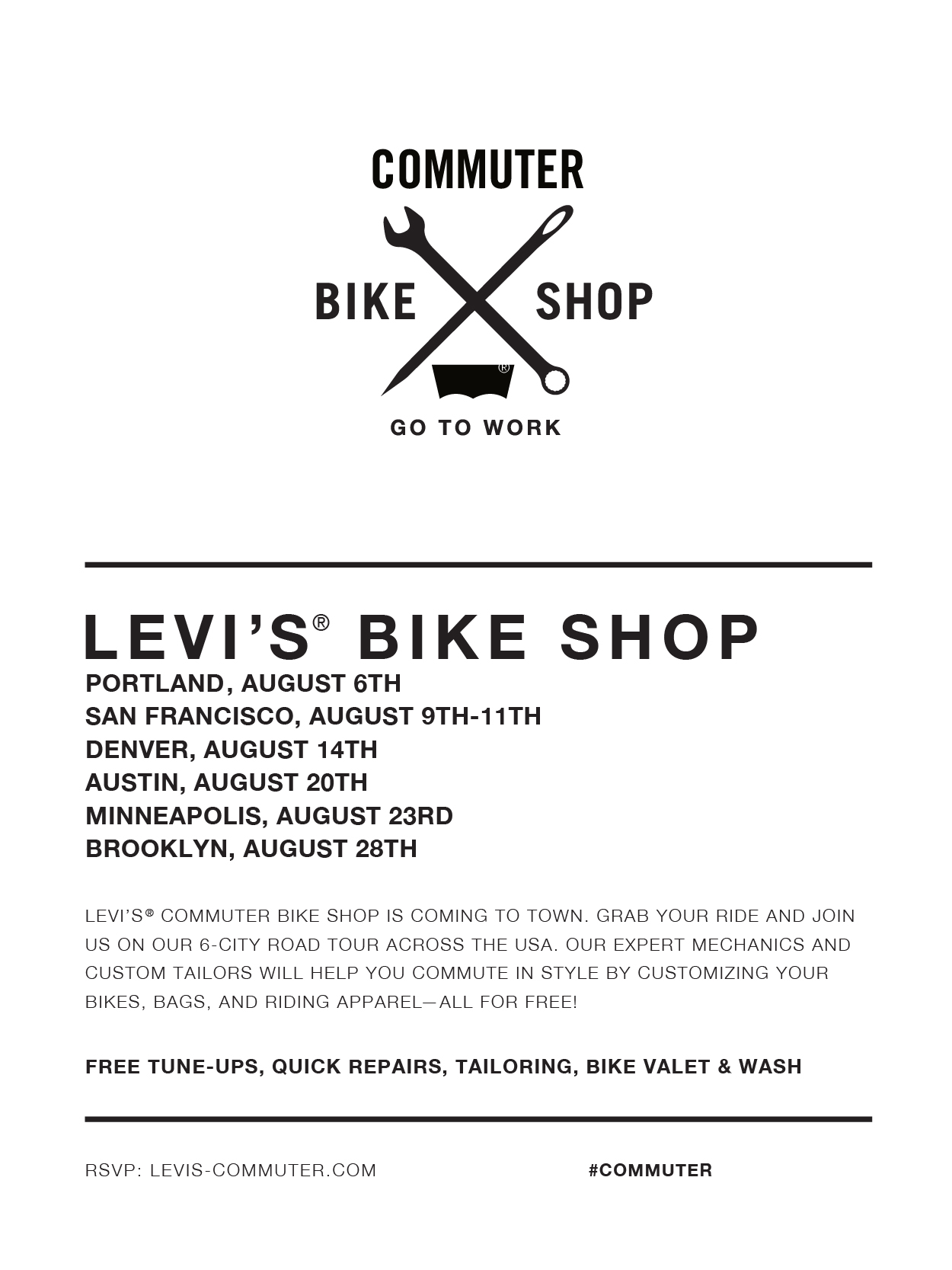 Levi's Bike Shop Tour Cities